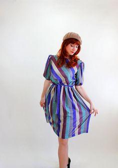 Sale  1970s Purple Green Gray Stripes Office Dress by gogovintage, $28.00