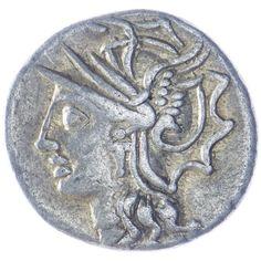 Av: Kopf der Roma im geflügelten Helm nach links, Rv: L. SATVRN Saturn in einer Quadriga nach rechts sprengend, Falx (Sichel) in der erhobenen Rechten haltend; oben Kontrollmarke Q