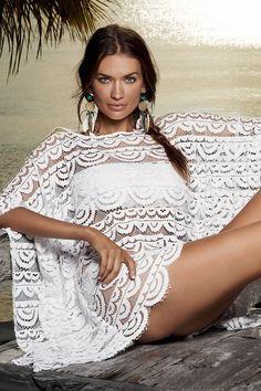f3e72fb354 Кружевное пляжное пончо PilyQ Brigitte Lace Poncho #poncho_lace  #beach_poncho (zoom) White Fashion