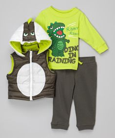 Another great find on #zulily! Green 'Dino in Training' Hooded Vest Set - Infant #zulilyfinds