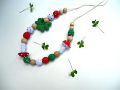Woodland Nursing Necklace  Red Green White by sweetshtuchky