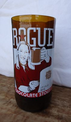Upcycled Rogue Brewery Chocolate Stout Beer bottle glass by ConversationGlass, $18.00
