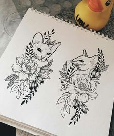 I like this cat tattoo the best. Maybe something similar with each of the cat& - tatoo - Pixel Tattoo, Neue Tattoos, Body Art Tattoos, Tattoo Sketches, Tattoo Drawings, Tattoo Cat, Sphynx Cat Tattoo, Cat Tattoos, Flower Tattoo Arm