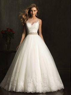 Ivory A-Linjeformat Hög Hals rmlös Spets Beading Tyll Wedding Dress för 9152kr