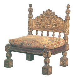 Maid of Honour's chair, Elizabethan  Although from Queen Elizabeth I's court , this low Maid of Honour's chair would have been similar to one used by Anne Boleyn when attending on Catherine of Aragon.