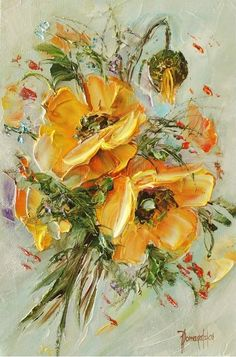 Painting palette knife artists 41 ideas for 2019 Oil Painting Flowers, Abstract Flowers, Texture Painting, Watercolor Flowers, Painting & Drawing, Watercolor Art, Yellow Painting, Arte Floral, Art Van