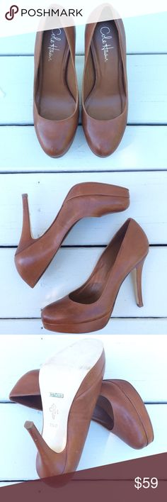 Cole Haan Cognac Platform Pumps Cognac leather pumps by Cole Haan. Wonderful quality and super stylish. Nike Air. In great condition except for one mark on side of shoe, see last pic. Cole Haan Shoes Heels