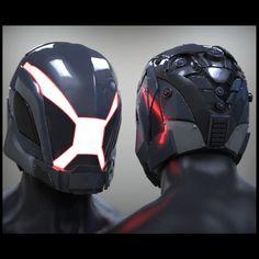 Sci-fi helmet concept (X), Sasawat Intakul on ArtStation at https://www.artstation.com/artwork/6Bldr