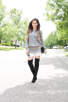 Mia Mia Mine. Shopbop Sweater Dress. Chanel Bag. Sam Edelman Over-The-Knee Boots.