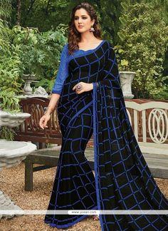 Gripping Georgette Black Casual Saree Model: YOSAS0157