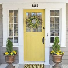 Front Door Colors For Tan House.Tan House With Red Door Painted Front Doors Best Front . My Little Bungalow: Color Selections: Front Door And Hallway. 42 Inviting Colors To Paint A Front Door DIY. Home and Family Yellow Front Doors, Painted Front Doors, Front Door Colors, Painted Armoire, Exterior House Colors, Exterior Design, Diy Exterior, Door Design, Siding Colors