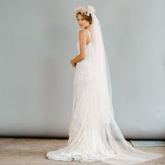 French Blooms Floral Crown long Veil $685.00
