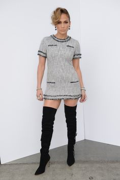 Jennifer Lopez wearing a black and white tweed Rachel Zoe dress with over the knee boots on American Idol. Styled by #RandM. #IdolFashion  http://news.instyle.com/2014/04/18/jennifer-lopez-american-idol-2/