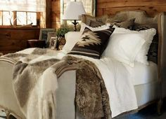 """Ralph Lauren Home Archives, """"Alpine Lodge"""" Bedroom, """"Inspired by the international glamour of a beautifully appointed ski chalet."""" This is my dream bedroom! Lodge Bedroom, Bedroom Decor, Woodsy Bedroom, Cabin Bedrooms, Mountain Bedroom, Farm Bedroom, Western Bedrooms, Bedroom Neutral, Neutral Bedding"""