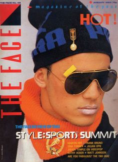 Men's sportswear mash-up on 'The Face' cover, 1984. Photo by Jamie Morgan styling by Ray Petri.