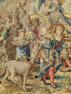 "Designed by Pieter Coecke van Aelst (Netherlandish, 1502–1550). Gluttony from the Seven Deadly Sins (detail), ca. 1532–34. Tapestry woven under the direction of Willem de Pannemaker, Brussels, before 1544. Patrimonio Nacional, Madrid (TA 22/3, A. 360-12154). | This work is featured in ""Grand Design: Pieter Coecke van Aelst and Renaissance Tapestry,"" on view October 8, 2014–January 11, 2015. #Coecke #tapestrytuesday"