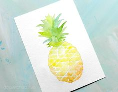 How to Paint Watercolor Fruit: Pineapple (Elise Engh Studios) - PaintinG Watercolor Fruit, Easy Watercolor, Watercolor Cards, Watercolour Painting, Painting & Drawing, Watercolors, Watercolor Portrait Tutorial, Watercolour Tutorials, Watercolor Portraits