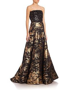 Oscar de la Renta Peacock Beaded Strapless Jacquard Gown - Gold Black