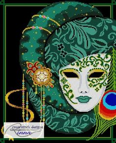 Mask of Mardi Gras-Festival Greens by CrossStitchRinna on Etsy