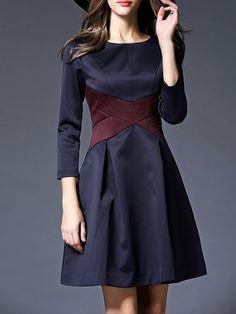 Blue Crew Neck Long Sleeve Color-block Midi Dress - StyleWe.com