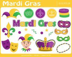Mardi Gras Clipart  Digital Printable Clip Art by digirelm on Etsy