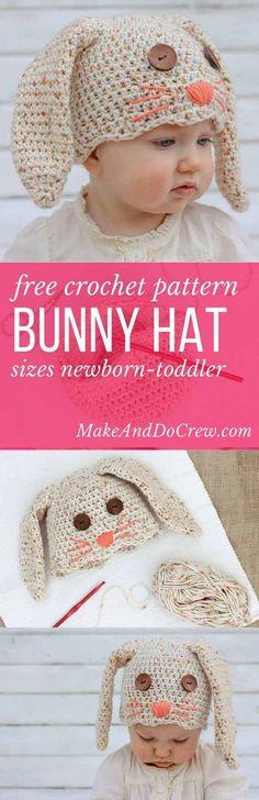 Crochet Bunny Hat Free Pattern