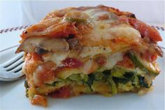 4 veggie lasagna.  Each layer contains a new surprise: chopped broccoli and spinach in one layer, thinly sliced zucchini in another, and sautéed mushrooms in the third. The classic inclusion of creamy ricotta cheese and gooey mozzarella makes this lasagna recipe one that you'll make again and again.