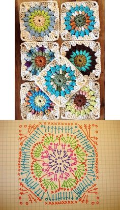 Ideas For Crochet Granny Square Easy Hooks Crochet Bedspread Pattern, Crochet Mandala Pattern, Form Crochet, Granny Square Crochet Pattern, Crochet Diagram, Crochet Stitches Patterns, Crochet Chart, Crochet Squares, Crochet Granny