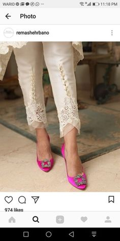 Plazzo Pants, Salwar Pants, Trouser Pants, Fashion Details, Look Fashion, Indian Fashion, Salwar Designs, Blouse Designs, Pakistani Dresses
