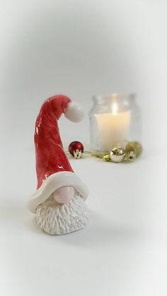 Santa Gnome Santa figurine garden gnome Christmas gnome ceramic garden gnome Santa hat red little Santa gnome gifts tomte gnome Christmas Gnome, Handmade Christmas, Christmas Crafts, Christmas Ideas, Ceramic Christmas Decorations, Handmade Decorations, Clay Projects, Clay Crafts, Santa Figurines