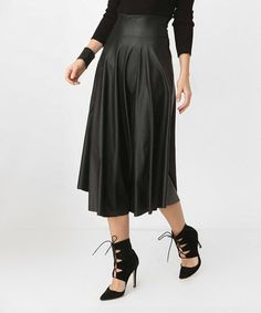 Take a look at this Black Faux Leather Midi Skirt today!