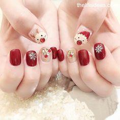pretty french nails nagel winter and christmas nails art designs ideas 22 Chrismas Nail Art, Christmas Gel Nails, Christmas Nail Art Designs, Cotton Candy Nails, Nail Candy, Nail Noel, Cute Nails, Pretty Nails, Geometric Nail