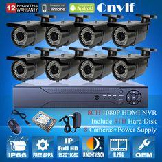 8psc 1080P COMS 25fps Bullet Vonkajší IR Network IP kamera 2 MP Bezpečnostný kamerový systém 8CH ONVIF H.264 NVR Kit kamerový systém pevných diskov 3TB +