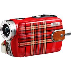 """DXG Luxe Collection DXG-531VR HD Red Tartan 720p HD Kensington Camcorder, 3"""" Screen, with Still Pictures"""