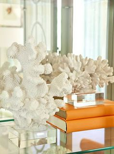 WSH♥ the corals on stand with colorful books on a coffee table. Via Talbany.  Reminds me of my MILs house.