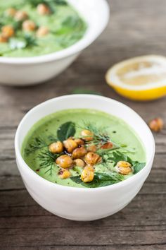 Chilled Cucumber-Tahini & Herb Soup with Cumin-Spiced Roasted Chickpeas   Dishing Up the Dirt