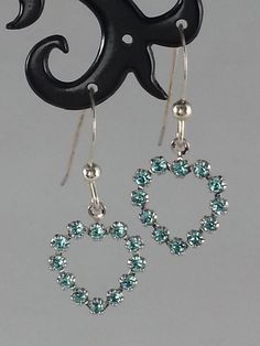 Light blue Swarovski crystal heart on sterling silver earrings