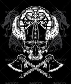 Vector Hand Drawn Viking Skull, Axe, and Shield  #GraphicRiver         Layered .ai and .eps vector hand drawn Viking Skull Illustration. The illustration consists of skull, helmet, axe, shield, and decorative dragon