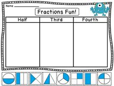 Fun fractions half third and fourth worksheets