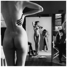 Helmut Newton – Self-portrait with wife June and models (1981)