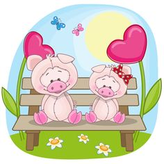 Lovers lovely animals vector set 03