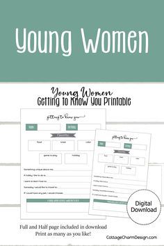 Get to know your new young women with this printable Get-To-Know-You worksheet. Instant Download Young Women Activities, Getting To Know You, As You Like, Jesus Christ, Knowing You, Saints, Thankful, Cottage, Printables