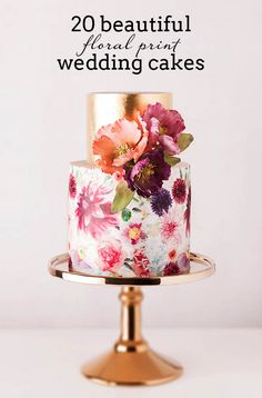 20 Floral Print Wedding Cakes | SouthBound Bride www.southboundbride.com/floral-print-wedding-cakes Credit: Cake Ink