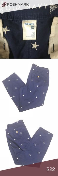 OLD NAVY BLUE AND WHITE STAR PRINT PANTS SIZE 12 Super adorable old navy blue and white star print pants size 12 Old Navy Pants Trousers