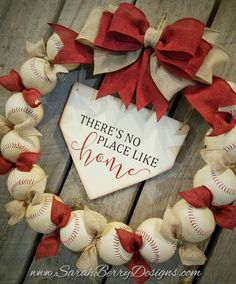 Baseball Wreath with Burlap Bow - Coach's Gifts- Baseball - Front Door Wreath - There's No Place Like Home- Spring Wreath Baseball Wreath with Burlap Bow Coach& Gifts Baseball Softball Wreath, Baseball Wreaths, Baseball Crafts, Sports Wreaths, Wreaths For Front Door, Door Wreaths, Rag Wreaths, Spring Wreaths, Summer Wreath