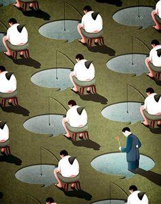 L'artiste deTaiwan Kai Ti Hsu a réalisé d'impressionnantes illustrations satiriques pessimistes qui analysent notre société moderne et notre relatio