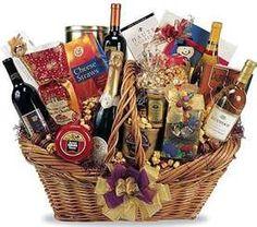 Wine and cheese gift basket Homemade Gift Baskets, Food Gift Baskets, Alcohol Gift Baskets