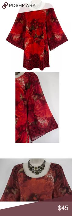 """XL X-LARGE RED FLORAL SHIFT DRESS w/Wide Sleeves We LOVE this absolutely gorgeous, stunning shift dress!  *The sleeves are amazing* Size: XL Slip on/ slip off Gorgeous floral print in shades of red Stretchy, super comfortable fabric Wide, sheer sleeves  Flattering shift dress Measurements: Bust (armpit to armpit):  44"""" relaxed - stretches to 54"""" Waist: 42"""" relaxed - stretches to 53"""" Hips:  47"""" relaxed Length: 34"""" (top of shoulder to bottom hem)  Condition: NEW WITH TAGS! Fabric Content: 95%…"""