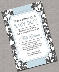 Baby Boy Shower Invitations Printable Blue Grey by alittletreasure, $15.00
