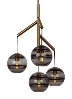 The Sedona Single chandelier from Tech Lighting perhaps is best described as a deconstructed modern chandelier, where four glass orbs are each suspended from the sleek branchlike central hub via contrasting textured cloth covered cords to make a distinctly alluring visual statement. While each transparent clear or transparent smoke glass orb is perfectly spherical and smooth on the exterior surface, the interior surface features gradually thickening bands of glass which are artfully crafted…